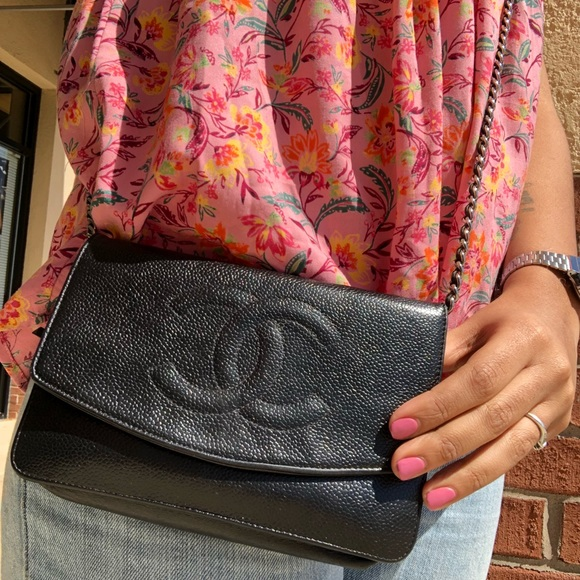8123cfdc0a5f CHANEL Handbags - Chanel Black Caviar Timeless Wallet On A Chain WOC